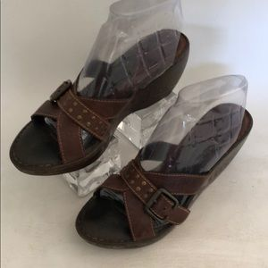BORN Women's Brown Leather Wedge Sandals Size 10